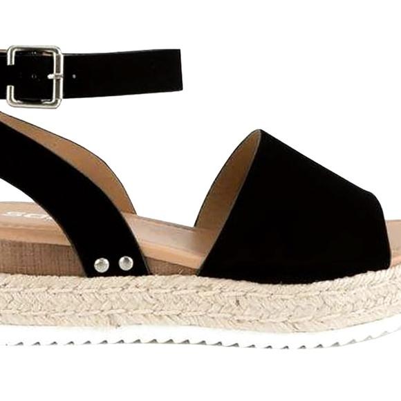 e987bdf24e2 Topi Black Open Toe Platform Espadrille Sandal 5.5
